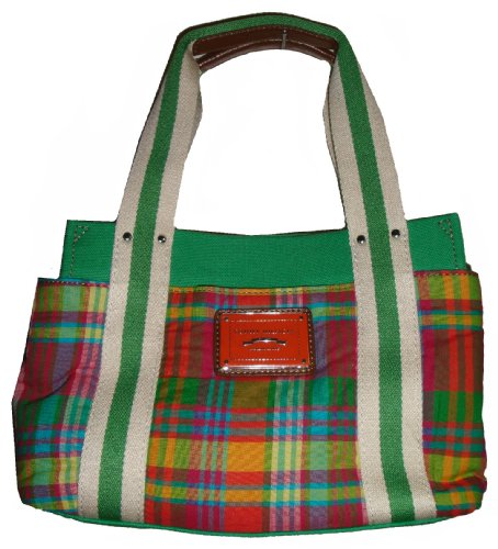 Tommy Hilfiger Women's Iconic Tote, Small, Green Plaid