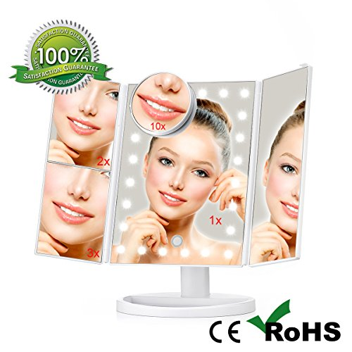 - Large Adjustbale Trifold Lighted Makeup Vanity Mirror with 24 Natural Bright Led Lights, 10x3x 2x1x Magnifications, 180°Rotation 15.35 Inch Dimmable Touch Screen Dual Power Supply Face Mirror, YODA