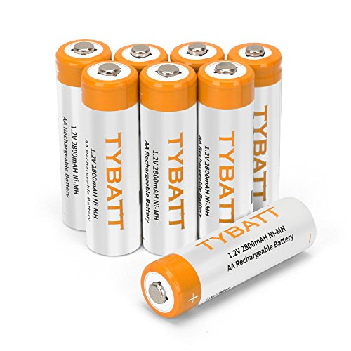 8 Pack AA Rechargeable NiMh Batteries, TYBATT 2800mAh High Capacity Pre-Charged AA Household Battery Pack for Remote Controller/Toys/Flashlight/Mice, 2 Storage Cases Included