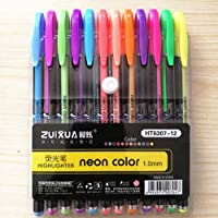 KNAFS Gel Color Pen Set Refills Metallic Pastel Neon Sketch Drawing Color Pen School Stationery Marker for Kids Gifts. (Marker, Set Of 12)
