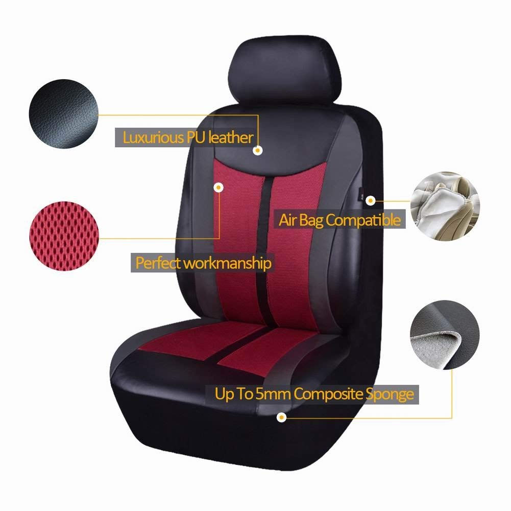 Flying Banner Orange PU Leather and Mesh Breathable Universal Fit Front Car Seat Covers with Airbag Compatible