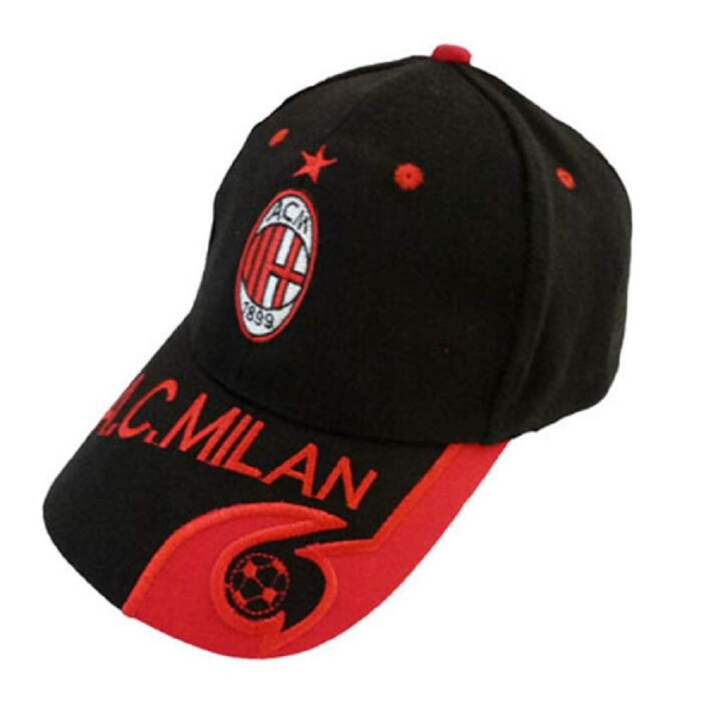 AJBOY Football Club Embroidered Baseball Cap Soccer Team Logo Adjustable Cap for Soccer Fans(AC Milan Black,One Size) by AJBOY