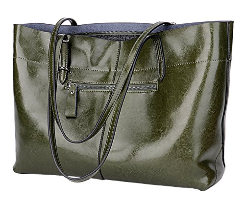 Covelin Women's Handbag Genuine Leather Tote Shoulder Bags Soft Hot Army Green by Covelin