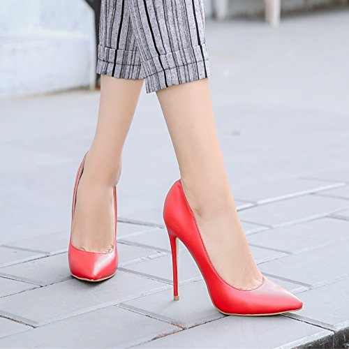 10Cm Lady Shallow All Heeled With Match Leisure Shoes MDRW High Pointed Fine Shoes Red Spring Shoes Work Mouth Elegant 34 XRwCCqxO