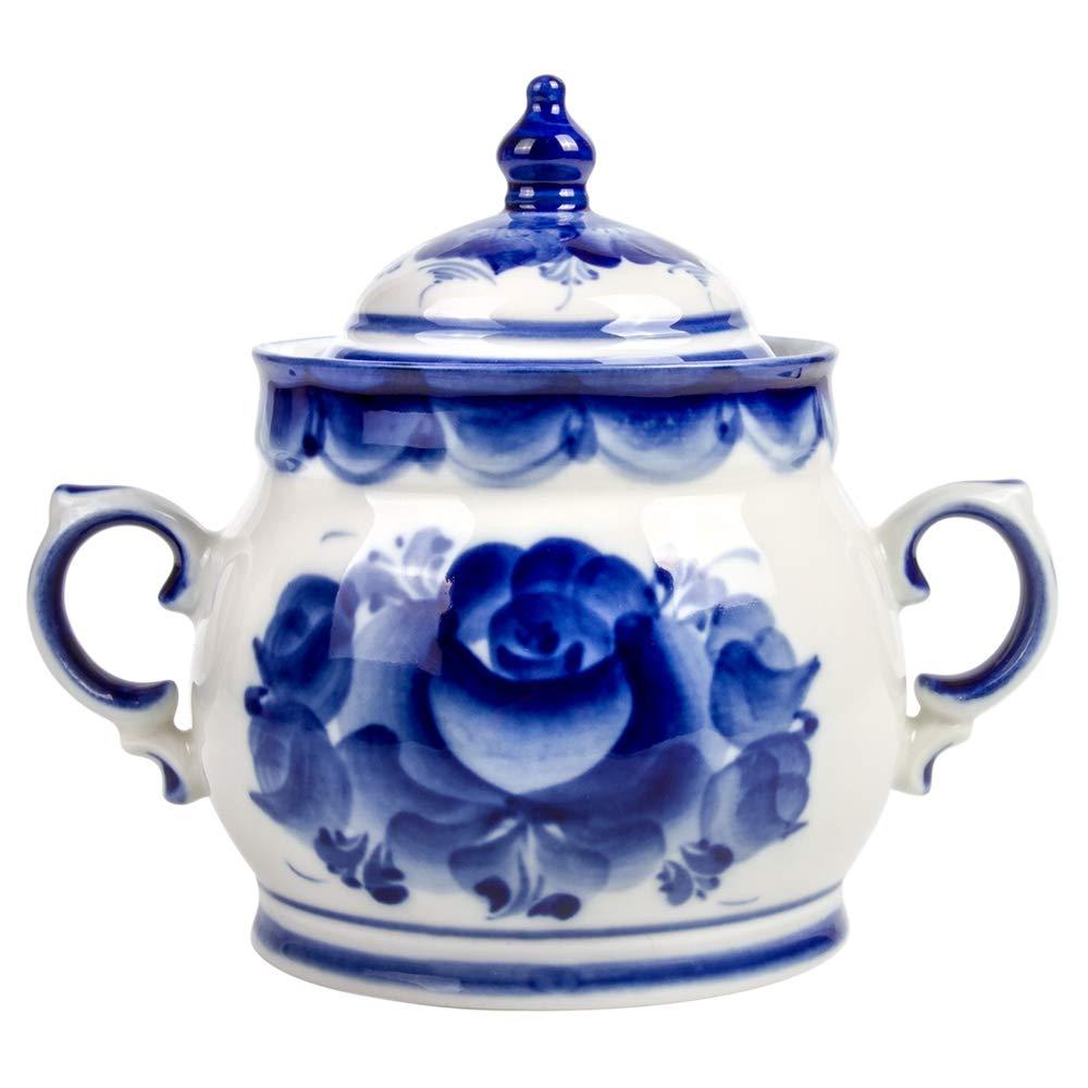 Enchantress Sugar Bowl. Blue and White Porcelain. Gzhel