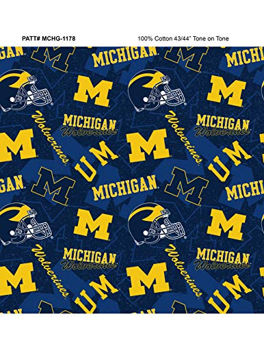 University of Michigan Cotton Fabric with New Tone ON Tone Design Newest ()