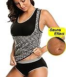 LAZAWG Women Sweat Slimming Vest Neoprene Sauna Suit Workout Weight Loss Body Shaper Tank Top No Zip Black Large