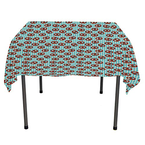 Oktoberfest Polyester Tablecloth Salty Pretzels on Diamond Pattern Deutschland Country Snacks Food Sky Blue Ivory Redwood Printed Tablecloth Square Tablecloth 54 by 54 inch -