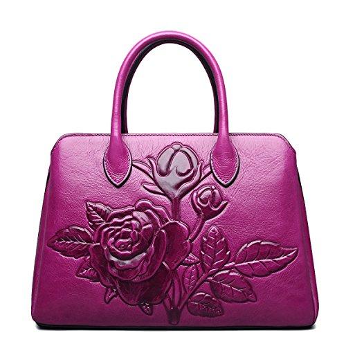 Jsix Bolso Bandolera de Cuero Genuino Diseñador Tote Bolsa maletín para Mujerfloral de la boda del monedero parte superior de la tarde mano Rosado