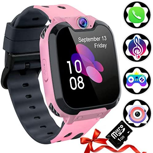 Auburet Kids Smart Watches SD Card Included ,Kids Phone with Games Music Camera, Full Touch Boys Girls Smart Watch with Calling SOS 7 Games and Music Player for Birthday Wrist Watch 3-12y