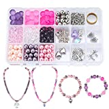SUNNYCLUE 1 Box 450pcs Jewelry Making Starter Kit Jewelry Making Supplies for Adults, Girls, Teens Women,Jewelry Findings & Beads Kit & Tools for DIY Necklace Bracelet, Pinkish Purple