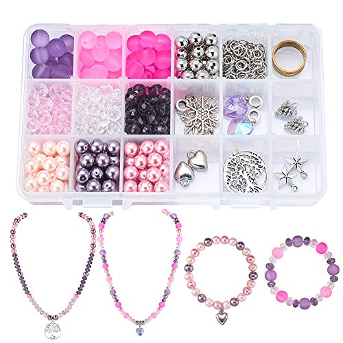 (SUNNYCLUE 1 Box 450pcs pcs Jewelry Making Starter Kit - Jewelry Making Supplies for Adults, Girls, Teens and Women,Jewelry Findings & Beads Kit & Tools for DIY Necklace Bracelet, Pinkish Purple)