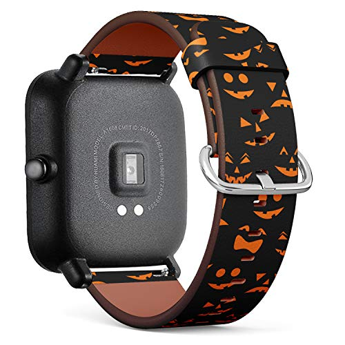 S-Type Quick Release Leather Bracelet Watch Band Strap Replacement Wristband Compatible for Xiaomi Huami Amazfit Bip - Pattern with Orange Halloween Pumpkins Carved Faces -