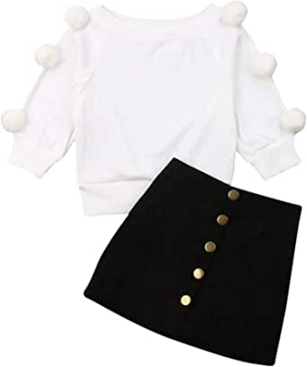 Conjuntos para Niñas Otoño Primavera Ropa Niña 2 Piezas Camiseta Manga Larga con Bolas + Falda Mini con Botones Estilo Típico para Niñas de 2 a 7 Años