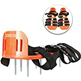 GRÜNTEK Lawn Aerator Shoes   Garden Grass Aerator Spiked Sandals   4 Secure Adjustable Straps   Universal Size for all Shoes or Boots