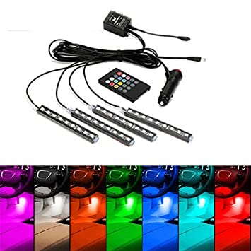 JOJOO 4pcs 18 LED Multi-color Remote Control Car LED Interior Lights Atmosphere Neon Lights Kit with Sounds-activated & Wireless IR Remote Control, Car Charger Included, MA014