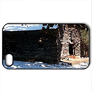 barn - Case Cover for iPhone 4 and 4s (Farms Series, Watercolor style, Black)