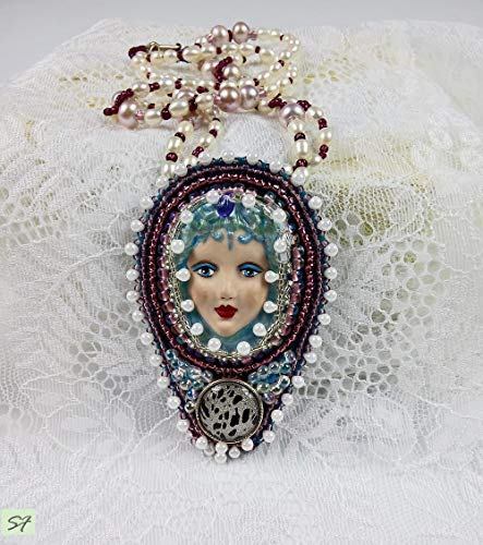 Doll Face Necklace - Face Doll Art Necklace embroidered beads blue white freshwater pearls gift for women