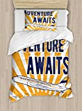 Ambesonne Adventure Duvet Cover Set Twin Size, Commercial Airplane with Rising Sun Adventure Quote Aviation Journey Print, Decorative 2 Piece Bedding Set with 1 Pillow Sham, Navy Blue Orange