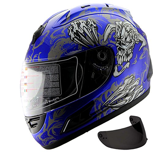 Motorcycle Street Sport Bike Helmet Full Face Helmet 2 Visors Comes with Clear Shield and Free Dark Tinted Shield (160 Blue, XL) by MRC