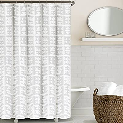 Echelon Home Greek Key Shower Curtain, Light Grey - Twill weave fabric 55% cotton, 45% polyester 72 x 72 Inch - shower-curtains, bathroom-linens, bathroom - 51R%2BB0DFfuL. SS400  -