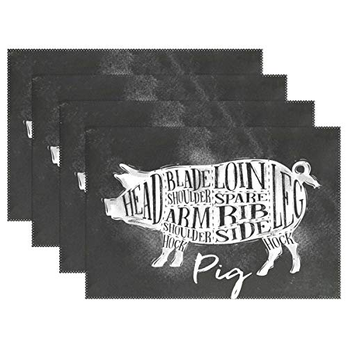 - Placemats Funny Pig Kitchen Table Mats Resistant Heat Placemat for Dining Table Washable 1 Piece