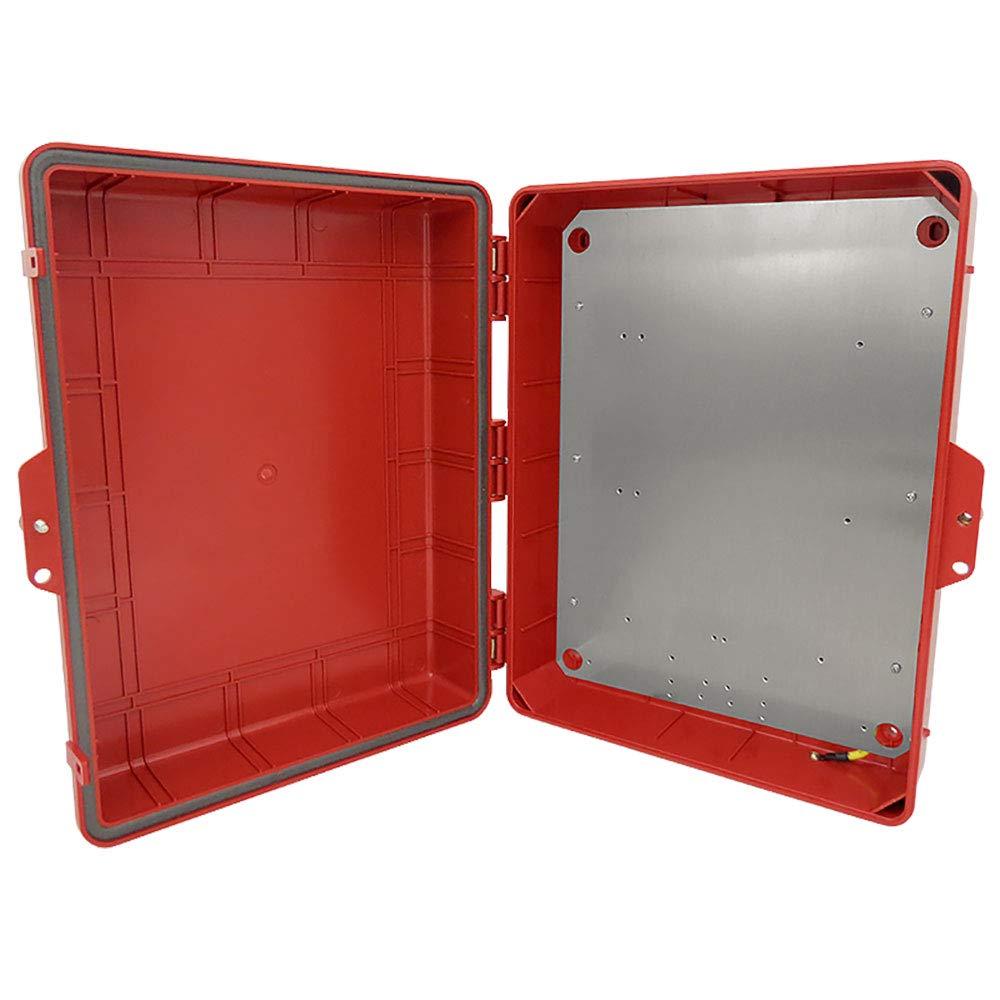 Altelix Red NEMA Enclosure (14'' x 9'' x 4.5'' Inside Space) Polycarbonate + ABS Tamper Resistant Weatherproof Rainproof with Aluminum Equipment Mounting Plate