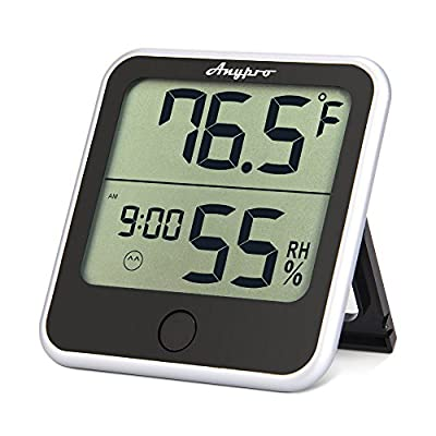 Humidity Monitor - Anypro Hygrometer Thermometer 2-in-1 with Temperature Gauge, Humidity Meter and Time Display