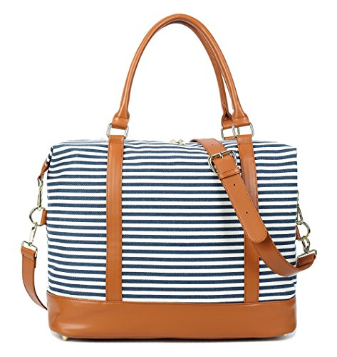 CAMTOP Women Ladies Weekender Travel Bag Canvas Overnight Carry-on Duffel Tote Luggage (Blue) by CAMTOP (Image #4)