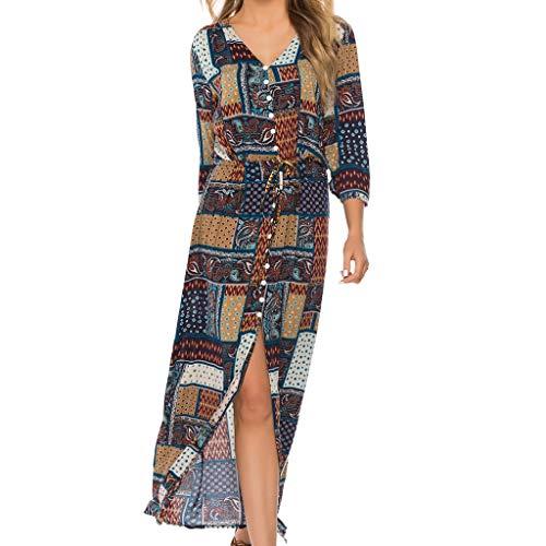 (Women Vintage Plus Size Boho Button Down Patchwork Split Maxi Dress Elegant 3/4 Sleeve Bohemian Pleated Swing Long Dress)