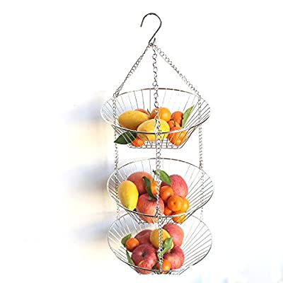 3-Tier Wire Fruit Hanging Basket, Vegetable Kitchen Storage Basket , Detachable Fruit Baskets