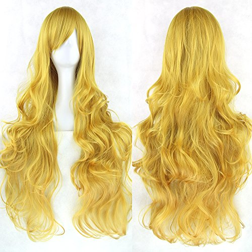 20 Colors Wavy Long Wig Hairpiece Temperature Fiber Synthetic Hair Pink Black Women Party Hair Cosplay Wigs Bug 32inches ()