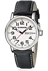 Wenger 01.0341.101 White Dial Black Leather Strap Men's Watch