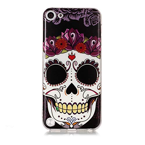 iPod Touch 6 Case Silicone, iPod Touch 5 Cover Aeeque Crystal Clear Transparent Ultra Thin Phone Case Slim Fit Shockproof Soft TPU Protective Case for iPod Touch 5th/6th Generation, Skull (Ipod 5th Generations Case Skull)
