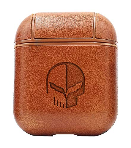 Logo Corvette 2 (Vintage Brown) Air Pods Protective Leather Case Cover - a New Class of Luxury to Your AirPods - Premium PU Leather and Handmade exquisitely by Master Craftsmen