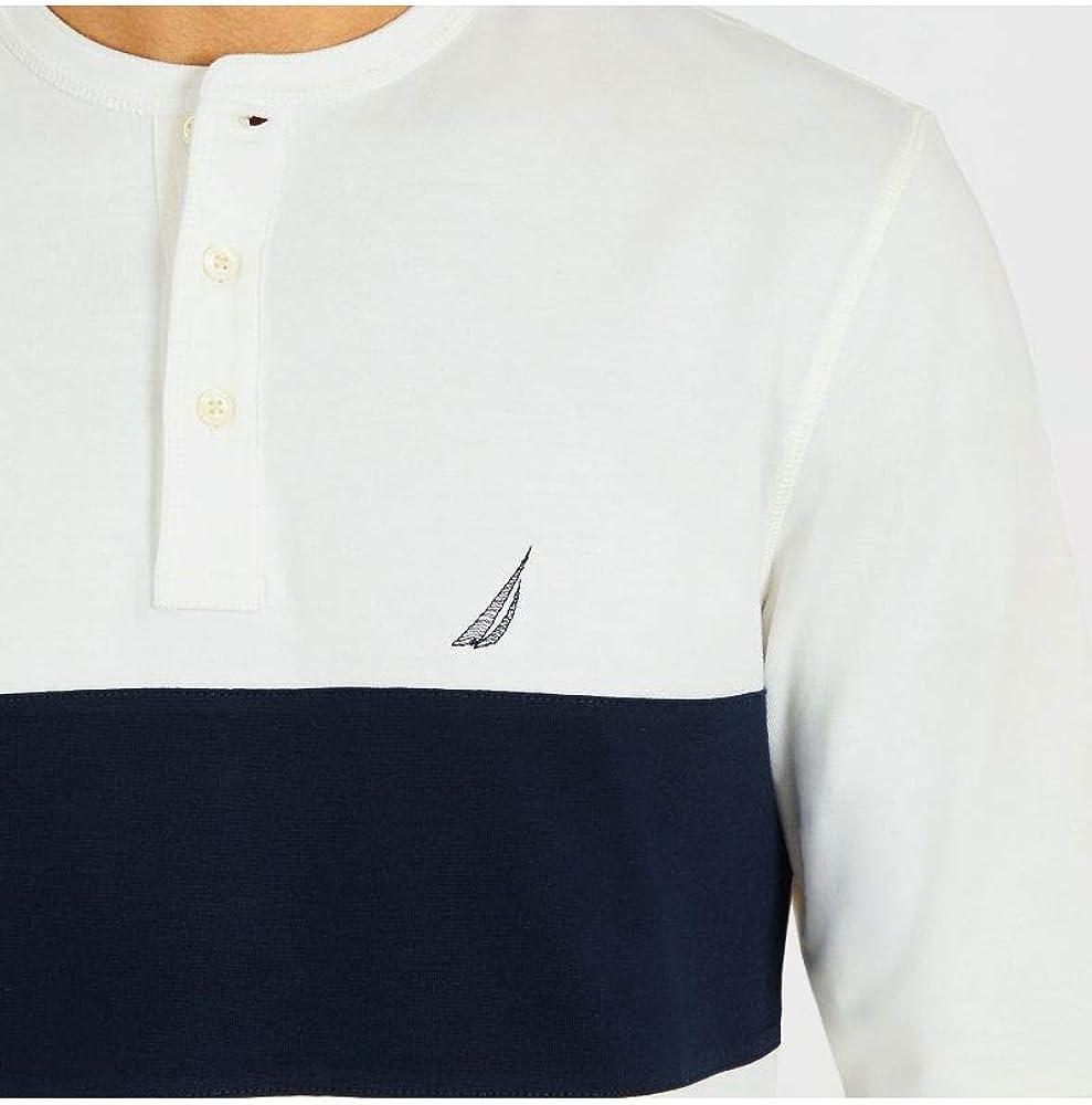 Nautica Henley - Camicia da Uomo a Maniche Lunghe con 3 Bottoni Marshmallow
