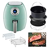 GoWISE USA 2.75-Quart Air Fryer with 6-Piece Accessory Set + 50 Recipes for your Air Fryer Book (Mint)