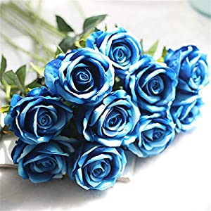 Louiesya Artificial Flowers Fake Flowers Bouquet Silk Roses Real Touch for Home Garden Party Floral Decor 6 Pcs Bridal Wedding Bouquet(Blue) 2