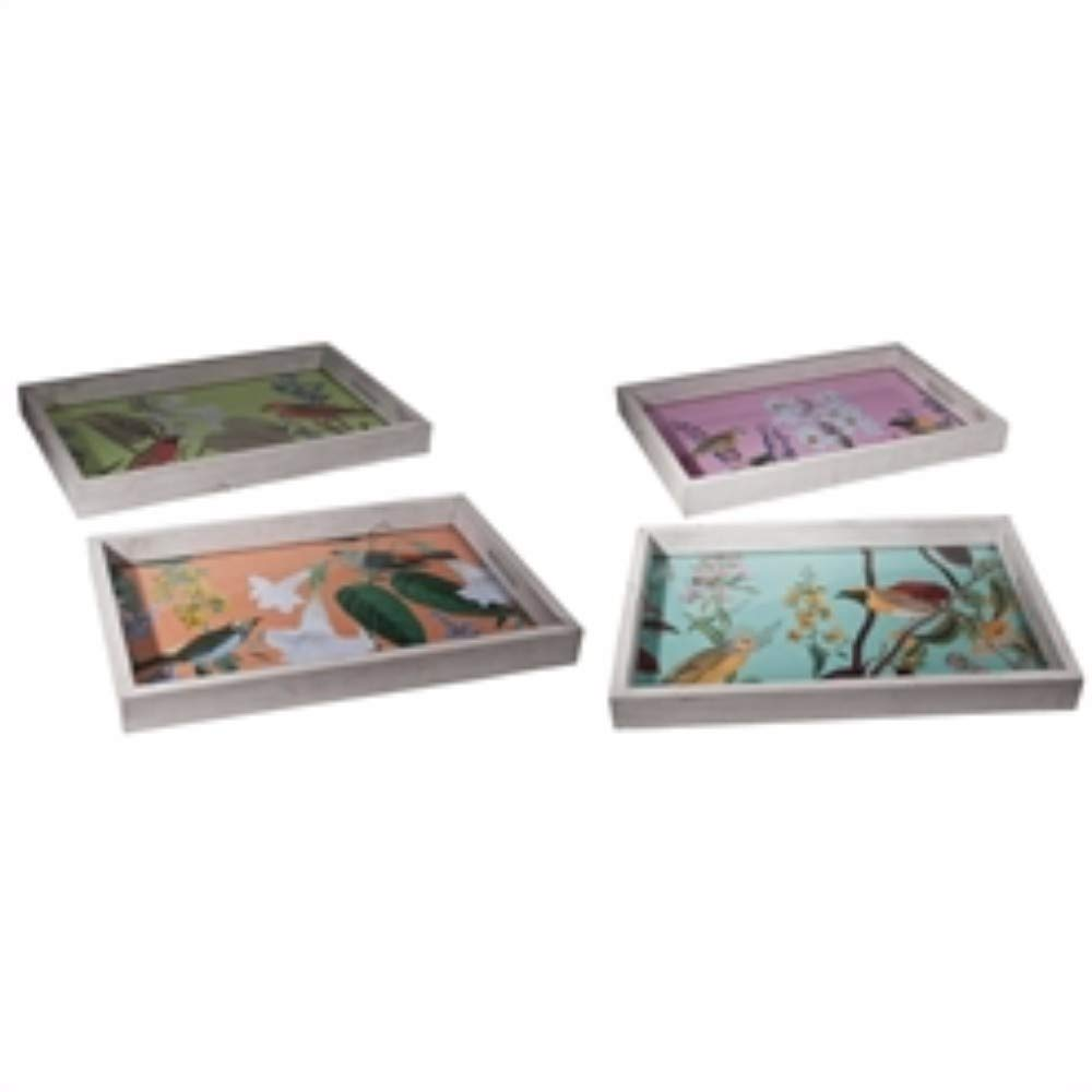 Benzara Magnanimous Rectangular, Multi-Color, Set of 4 Trays Multicolor BM158337