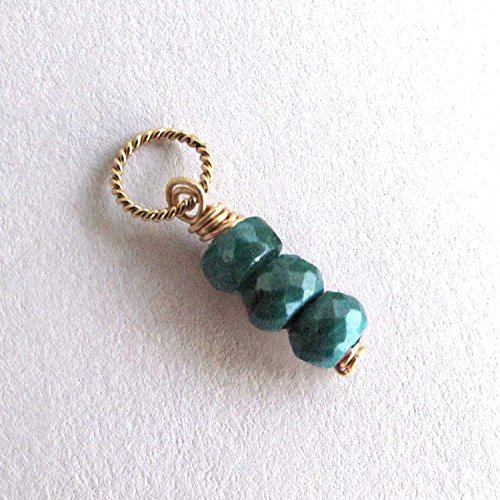 - Genuine Green Emerald Charm, Small Gemstone Pendant with Box, May Birthstone Gift - 14k Gold Filled