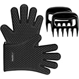 ?Heat Resistant?iMounTEK Silicone Bear Claws Barbecue Oven Cooking Gloves Mitts [Waterproof] Washable/Insulated [Full Finger/Hand/Wrist Protection] Baking Gloves For BBQ Smokers & Grilling- Black