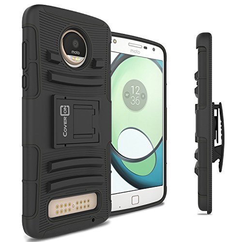 Play In Case (Moto Z2 Play Holster Case, CoverON [Explorer Series] Holster Hybrid Armor Belt Clip Hard Phone Cover For Motorola Moto Z2 Play Holster Case - Black / Black)