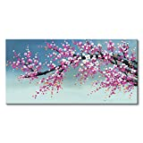 Konda Art -Hand-Painted Pink Color Plum Blossom Flower Canvas Painting Wall Art Stretched and Framed Modern Abstract Decorative Gift for Office (60''W x 30''H)
