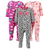 Apparel : Simple Joys by Carter's Baby and Toddler Girls' 3-Pack Loose Fit Fleece Footed Pajamas