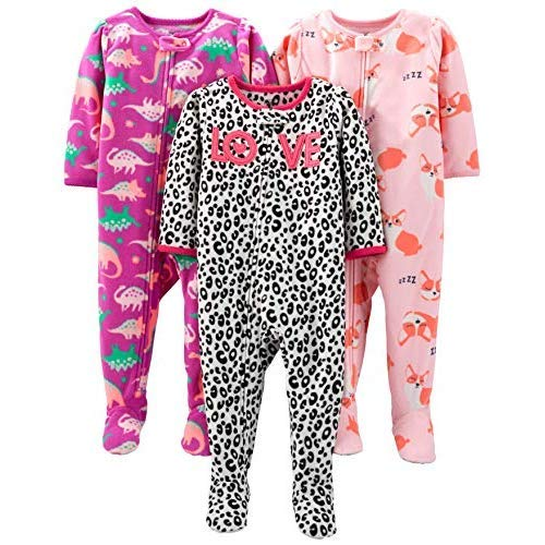 Simple Joys by Carter's Girls' 3-Pack Loose Fit Flame Resistant Fleece Footed Pajamas, Fox/Dino/Leopard Print, 18 Months