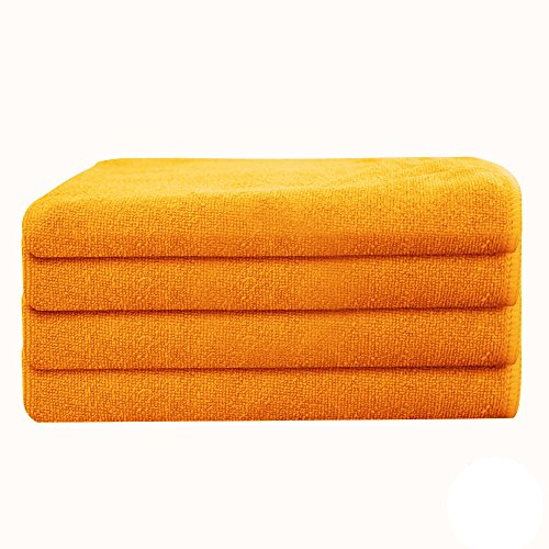 GHP 84-Pcs Orange 16''x16'' 330 GSM Professional Grade Microfiber Cloth Cleaning Towels by Globe House Products