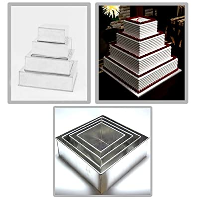 "Square Multilayer Wedding Birthday Cake Baking Pan Set of 4 Cake Tins (4"" Deep)"
