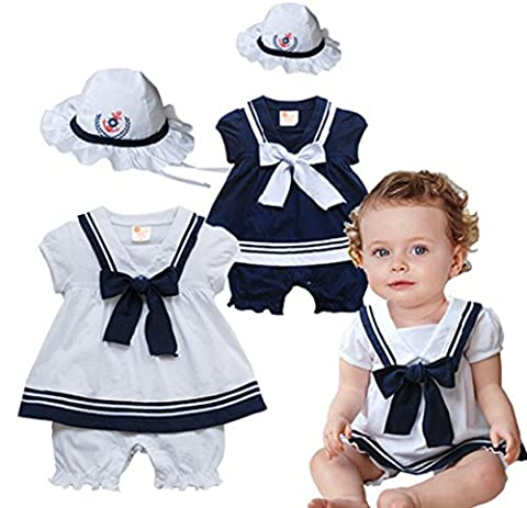 Taiycyxgan Baby Toddler Boys Girls Nautical Sailor Short Suit Set Rompers with Hat White 90