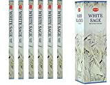 India HEM White Sage Incense 6 Packs X 8 Sticks, Wicca Pagan 8 Gm Square Box