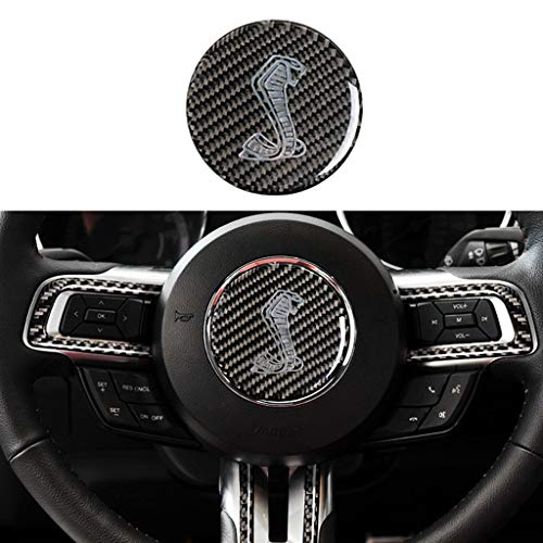 TopDall Carbon Fiber Shelby GT Custom Steering Wheel 3D Sticker Cover Trim For Ford Mustang 2016-2019